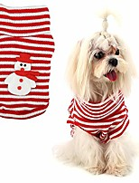 cheap -pet vest sweater, pet christmas sweater warm striped cute puppy clothes xmas dog snowman costume(xs)