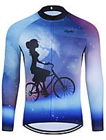 cheap -WECYCLE Men's Women's Long Sleeve Cycling Jersey Winter Blue Bike Top Mountain Bike MTB Road Bike Cycling Breathable Sports Clothing Apparel / Stretchy / Athletic