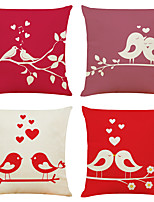 cheap -Set of 4 Hi On The Branches Linen Square Decorative Throw Pillow Cases Sofa Cushion Covers 18x18