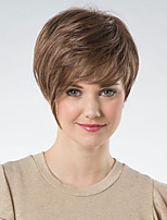 cheap -Synthetic Wig Loose Curl Asymmetrical Wig Short Brown Synthetic Hair 6 inch Women's Fashionable Design Exquisite Fluffy Brown