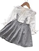 cheap -Kids Girls' Basic White Houndstooth Solid Colored Long Sleeve Regular Regular Clothing Set White