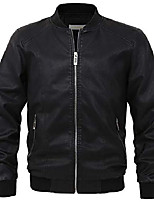 cheap -men's essential sports zip lightweight pu leather varsity bomber jacket (x-large, black)