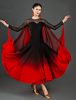 cheap -Ballroom Dance Dress Split Joint Women's Training Performance Long Sleeve Mesh Spandex Chiffon