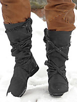 cheap -Women's Boots Snow Boots Cowboy Western Boots Block Heel Round Toe Over The Knee Boots Casual Basic Daily Walking Shoes PU Solid Colored Dark Grey Dark Brown Black / Mid-Calf Boots
