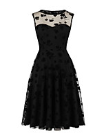 cheap -Women's Chiffon Dress Knee Length Dress - Sleeveless Solid Color Lace Fall Casual Elegant 2020 Black S M L XL XXL