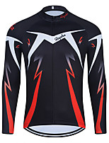 cheap -WECYCLE Men's Women's Long Sleeve Cycling Jersey Winter Polyester Black Bike Jersey Top Mountain Bike MTB Road Bike Cycling Breathable Quick Dry Reflective Strips Sports Clothing Apparel / Stretchy