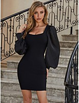 cheap -Women's Sheath Dress Short Mini Dress - Long Sleeve Solid Color Ruched Fall Sexy Lantern Sleeve 2020 Black S M L