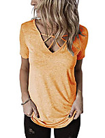 cheap -womens criss cross summer tops casual short sleeve shirt v-neck tees & #40;large, yellow& #41;