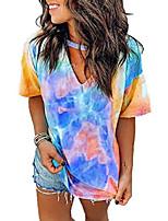 cheap -tie dye shirts womens tops colorblock gradient short sleeve choker v neck t-shirt summer casual blouse