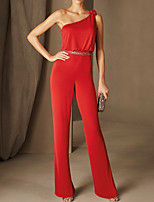 cheap -Jumpsuits Elegant Minimalist Wedding Guest Formal Evening Dress One Shoulder Sleeveless Floor Length Stretch Satin with Beading Appliques 2020