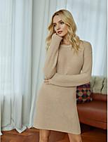 cheap -Women's Sweater Jumper Dress Short Mini Dress - Long Sleeve Solid Color Fall Winter Casual Cotton 2020 Beige S M L XL