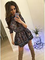 cheap -Women's Sheath Dress Short Mini Dress - Half Sleeve Geometric Summer Casual 2020 Black S M L XL