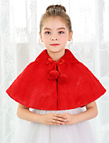cheap -Sleeveless Shawls Faux Fur Wedding / Party / Evening Kids' Wraps With Lace-up / Pom-pom
