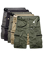 cheap -Men's Hiking Shorts Hiking Cargo Shorts Solid Color Summer Outdoor Breathable Ventilation Soft Comfortable Cotton Shorts Bottoms Black Army Green Khaki Hunting Fishing Climbing 29 30 31 32 33