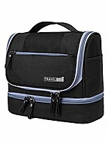 cheap -travel toiletry bag, dry & wet separation cosmetic bag with hanging hook - waterproof portable makeup travel organizer for men and women