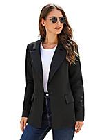 cheap -women's casual work office business long sleeve lapel pocket buttons slim blazer jacket solid black, size xl(us 16-18)