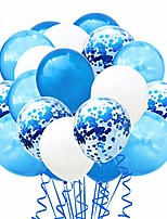 """cheap -confetti balloons set, 100 pack 12"""" blue white and confetti latex balloons colorful balloon party kit supplies for wedding birthday thanksgiving, halloween, christmas, new year party (blue white)"""