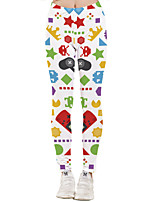 cheap -Women's Sporty Yoga Quick Dry Plus Size Skinny Daily Leggings Pants Print Ankle-Length High Waist White