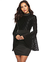 cheap -Women's Sheath Dress Short Mini Dress - Long Sleeve Solid Color Backless Mesh Patchwork Fall Sexy Flare Cuff Sleeve Slim 2020 Black S M L XL XXL