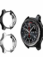 cheap -case for samsung gear s3 frontier sm-r760,tpu shock-proof all-around protective bumper shell protective galaxy watch sm-r800 46mm smartwatch accessories (black/silver, 46mm)