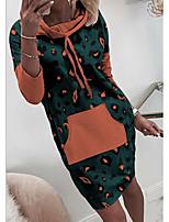 cheap -Women's Shift Dress Short Mini Dress - Long Sleeve Print Patchwork Print Spring Fall Casual Cotton 2020 White Blushing Pink Green S M L XL XXL