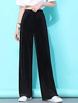 cheap -Women's Comfort Velvet Loose Daily Wide Leg Pants Pants Solid Colored Full Length High Waist Black Green