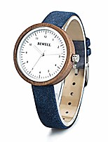 cheap -ladies wooden watches simple dial quartz wood wrist watches for women blue leather band