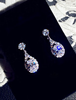cheap -Women's AAA Cubic Zirconia Drop Earrings Oval Cut Princess Elegant Sweet Earrings Jewelry Silver For Wedding Party Evening 1 Pair