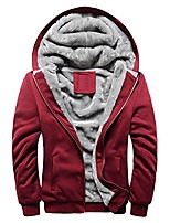 cheap -men's full zip up fleece hooded hoodie sweatshirt winter warm coat heavyweight thicken jacket thermal zipper sweater (m, red)