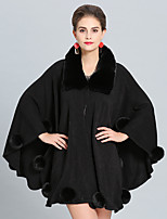 cheap -Women's Fall & Winter Cloak / Capes Long Solid Colored Daily Basic Faux Fur Black Blushing Pink Beige Gray One-Size