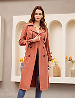 cheap -Women's Fall & Winter Single Breasted Coat Long Solid Colored Daily Basic Red Khaki S M L / Slim