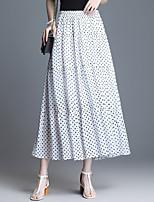 cheap -Women's Street Daily Active Streetwear Chiffon Skirts Polka Dot Solid Colored White Black Dark Gray / Maxi