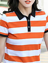 cheap -Women's Golf Polo Shirts Short Sleeve Breathable Quick Dry Soft Sports Outdoor Autumn / Fall Spring Summer Cotton Stripes Red Blue Orange / Stretchy