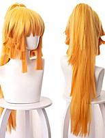 cheap -female zenitsu agatsuma kimetsu no yaiba cosplay wig long ponytail synthetic hair (yellow)