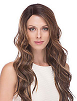 cheap -Synthetic Wig Curly Water Wave Asymmetrical Wig Long Dark Brown Synthetic Hair Women's Fashionable Design Exquisite Dark Brown