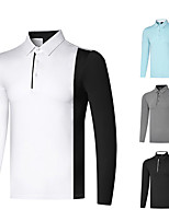 cheap -Men's Golf Polo Shirts Long Sleeve Autumn / Fall Spring Winter UV Sun Protection Breathable Quick Dry Cotton White Black Sky Blue Gray / Stretchy
