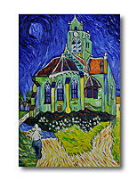 cheap -Stretched Oil Painting Hand Painted - Abstract Contemporary Modern Canvas High Quality Van Gogh Night Church