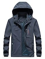 cheap -Men's Hiking Jacket Hiking Windbreaker Outdoor Thermal Warm Waterproof Windproof Breathable Jacket Top Camping / Hiking Hunting Fishing Dark Grey Black Green Dark Blue