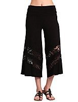 cheap -plus size women's solid wide leg flared capri boho tiered gaucho pants   black