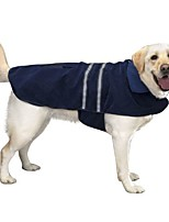 cheap -polyester soft fleece warm dogs jacket coat pet dress with night vision safety reflective stripes blue (s).