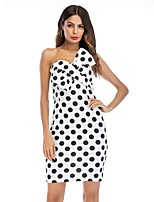 cheap -Women's Sheath Dress Short Mini Dress - Sleeveless Polka Dot Bow Patchwork Print Summer Sexy 2020 White S M L XL XXL