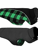 cheap -warm dog jacket, reversible dog winter coat, reflective windproof waterproof dog clothes for winter, plaid dog coats for small medium large dogs boy girl dogs, white, s