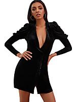 cheap -Women's A-Line Dress Short Mini Dress - Long Sleeve Solid Color Ruched Summer Fall Elegant Sexy 2020 Black Purple S M L