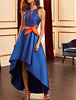 cheap -A-Line Color Block Elegant Wedding Guest Formal Evening Dress Halter Neck Sleeveless Asymmetrical Satin with Bow(s) 2020