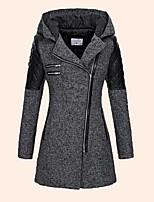 cheap -Women's Fall & Winter Zipper Coat Long Color Block Daily Basic Black Gray S M L XL