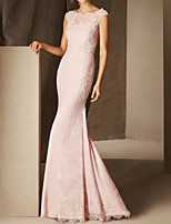 cheap -Mermaid / Trumpet Elegant Floral Engagement Formal Evening Dress Scalloped Neckline Sleeveless Floor Length Lace Satin with Lace Insert 2020