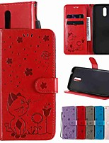 cheap -Case For Nokia Nokia 7.1 / Nokia 3.2 / Nokia 1 Plus Wallet / Card Holder / with Stand Full Body Cases Solid Colored / Animal PU Leather / TPU