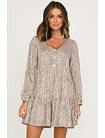cheap -Women's Sheath Dress Short Mini Dress - Long Sleeve Leopard Patchwork Print Fall Casual Puff Sleeve 2020 Brown Beige S M L XL