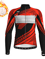 cheap -21Grams Men's Long Sleeve Cycling Jacket Winter Fleece Red Blue Green Bike Jacket Top Mountain Bike MTB Road Bike Cycling Fleece Lining Warm Sports Clothing Apparel / Stretchy
