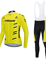cheap -21Grams Women's Long Sleeve Cycling Jersey with Bib Tights Winter Fleece Polyester Black / Yellow White Red Bike Clothing Suit Fleece Lining Breathable 3D Pad Warm Quick Dry Sports Graphic Mountain